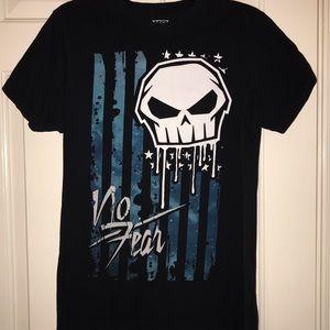 🌹No fear Skull Black Graphic Tee